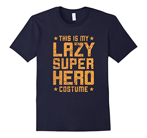 Easy Superhero Costumes Ideas (Mens Lazy Super Hero Costume - Easy Halloween Costume Shirt Large Navy)