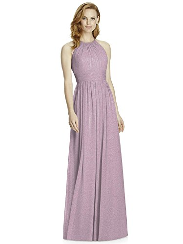 (Studio Design Collection 4511 Full Length Halter Neckline Bridesmaid Dress - Suede Rose Silver - Size 10)