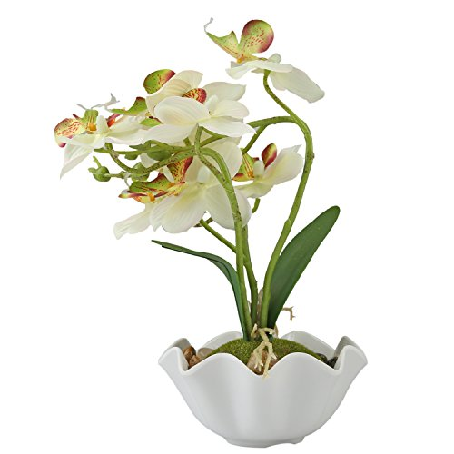 Decorative Artificial Silk Phalaenopsis Orchid Flower with White Vase, White by MyGift