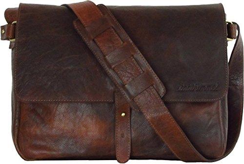 Umhängetasche Braun Vintage Leder Schultertasche längenverstellbarer Tragegurt für Damen und Herren Echtleder-Tasche