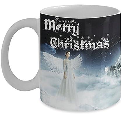Amazon.com: Holiday Mug / Merry Christmas, Angel / Mugs with Quotes ...