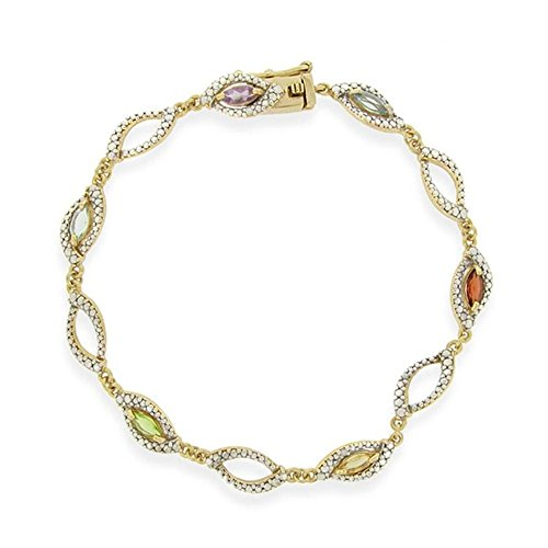 Gold Tone Over Silver Multi Gemstone & Simulated Diamond Link Bracelet (Gemstone Simulated Multi)