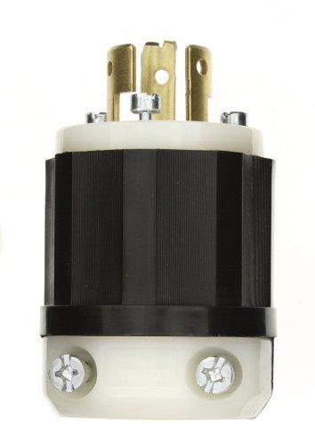 Leviton 9965-C 20 Amp, 125/250 Volt, Locking Plug, Industrial Grade, Non-Grounding, Black-White (250v Black Nylon Locking Plug)