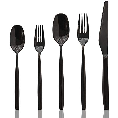 Culter Contemporary Flatware Silverware Cutlery Sets 20 Piece, Stainless Steel Utensils Set For 4, Include Forks/Spoons/Knives, Home & Kitchen Dinnerware Tableware Sets, Dishwasher Safe