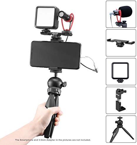 ULANZI Smartphone Video Kit, Schrotflinten-Videomikrofon+Kaltschuhhalterung+LED-Videolicht+Mini-Stativ+Telefon-Stativhalterung, Vlogging YouTube-Ausrüstung para iPhone 11 Pro Max XS 8 Samsung Google: Amazon.es: Electrónica