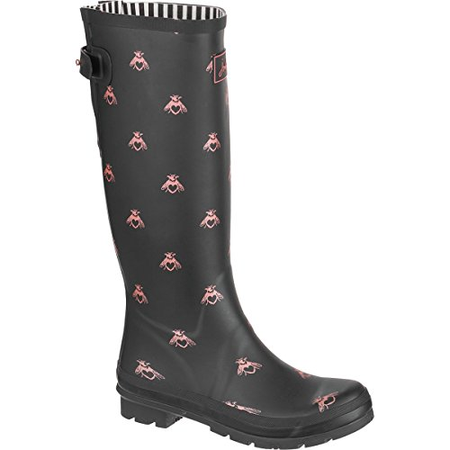 Joules Womens Welly Print Black Love Bees Rubber Boots 7 US by Joules (Image #1)