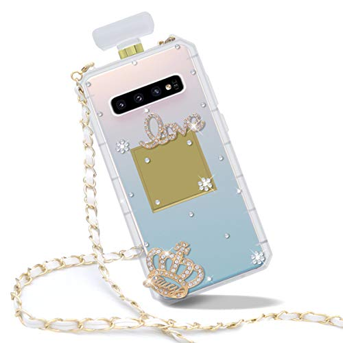 Goodaa for Galaxy S10 Case, Diamond Perfume Bottle Case,Goodaa Luxury Elegant Diamond Perfume Bottle Crystal Rhinestone Shiny Bling Crown Cover Case For Galaxy S10 with String
