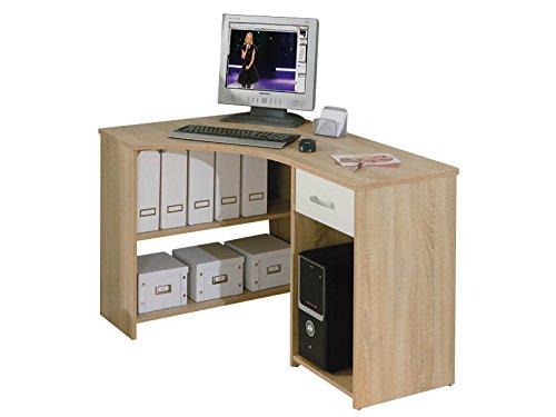 Links - Office 8 - Scrivania angolare. Dim: 118x79x75 h cm. Col: Noce, Bianco. Mat: Legno massello. 13casa 19200020 F00011901009_OAK