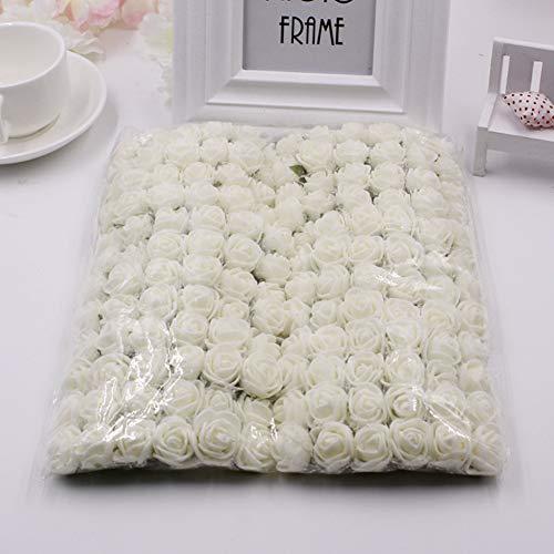 (FairOnly 144Pcs Artificial Lace PE Foam Rose Flowers Handcraft Wreath Decor Milk White)