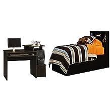 College Dorm Bedroom Set of 2: Twin Storage Bed, Cinnamon Cherry and Student Desk, Cinnamon Cherry