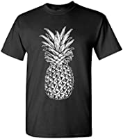 SKULL PINEAPPLE - retro style hipster - Mens Cotton T-Shirt, XL, Black