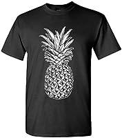SKULL PINEAPPLE - retro style hipster - Mens Cotton T-Shirt, XL, Black