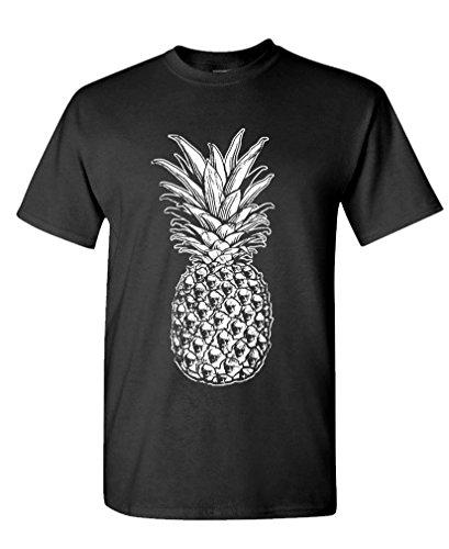 SKULL PINEAPPLE - retro style hipster - Mens Cotton T-Shirt, M, Black (Hipster Mens)