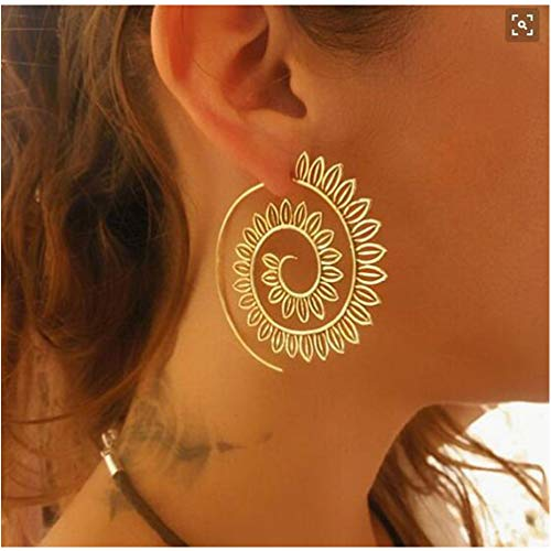 Bracet Spiral Hoop Earrings Stud Bohemian Vintage Tribal Swirl Style Adjustable Earrings Jewelry (4510(Gold))