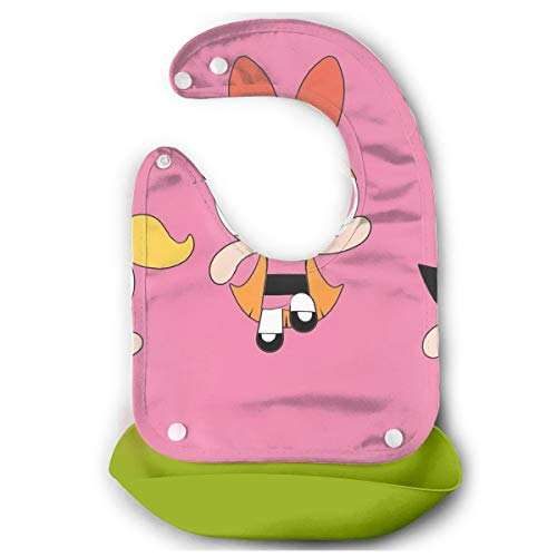 JINUNNU Baby Bib Colorful The Powerpuff Girls Waterproof Feeding Bibs for Babies and Toddlers with Food Catcher Pocket Green]()