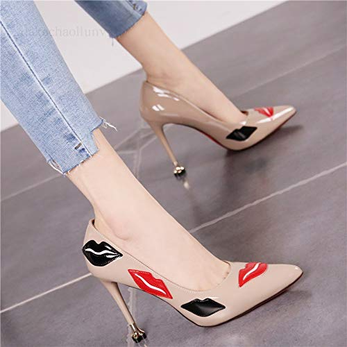 LBTSQ-Sexy Lippen-Fein Hacken High Heels Lack Leder Spitze 9Cm Farb-Kombination Flachen Flachen Farb-Kombination Mund Ein Schuh Temperament Passt a47d72