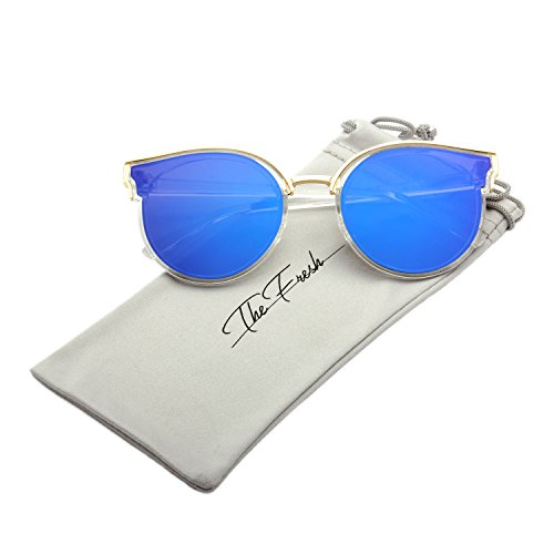 The Fresh Modern Crystal/Metal Frame Colored Flat Lens Horn Rimmed Sunglasses with Gift Box (Crystal, (Contact Lenses Halloween No Prescription)