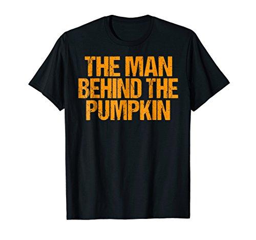 Mens Man Behind The Pumpkin T Shirt Halloween Pregnancy Dad 2XL Black
