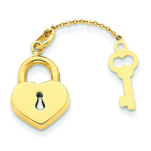 14K Yellow Gold Heart Lock & Key Charm Pendant Jewelry