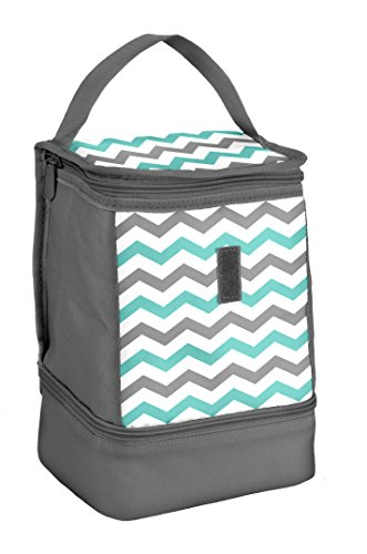 Fit & Fresh 361JL636 Allie Insulated Lunch Bag, Aqua Grey Chevron - Aqua Lunch Bag