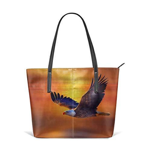 - King Dare Flying Eagle Women Fashion Handbags Tote Bag Shoulder Bag Top Handle Satchel - Microfiber PU Leather