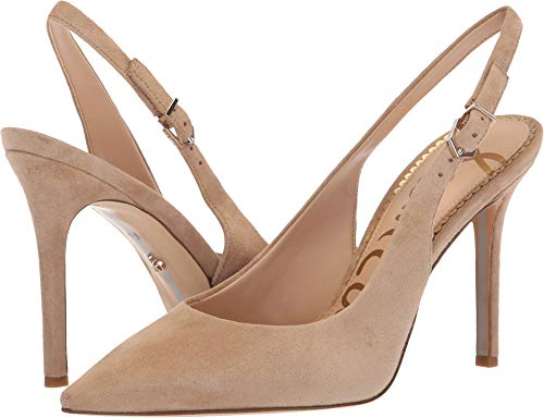 4 Inch Slingback Pump Shoes - Sam Edelman Women's Hastings Oatmeal Kid Suede Leather 6 M US