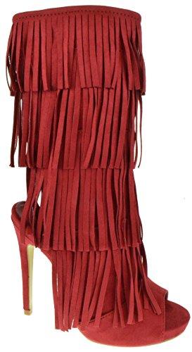 Kelsy 01 Dames 4-laags Fringe Zip-up Stiletto Middenkuit Bootie Rood