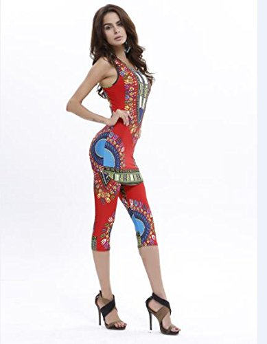 Talla Of Print Rojo Vintage Top Única Clothes Asghill 2 Y Piezas Casual Summer Pantalones Boho Nuevas Mujeres Set Sqw6qxaZ