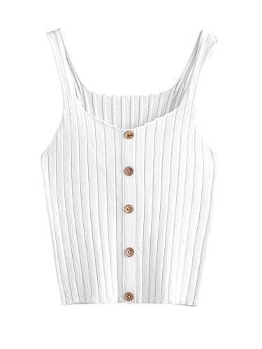 (SweatyRocks Women's Sleeveless Vest Button Front Crop Tank Top Ribbed Knit Belly Shirt White One)