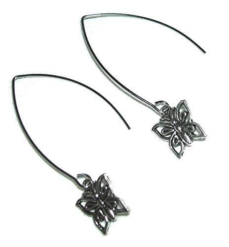 BUTTERFLY EARRINGS Angle Hook Threader Earrings Silver Plt ()