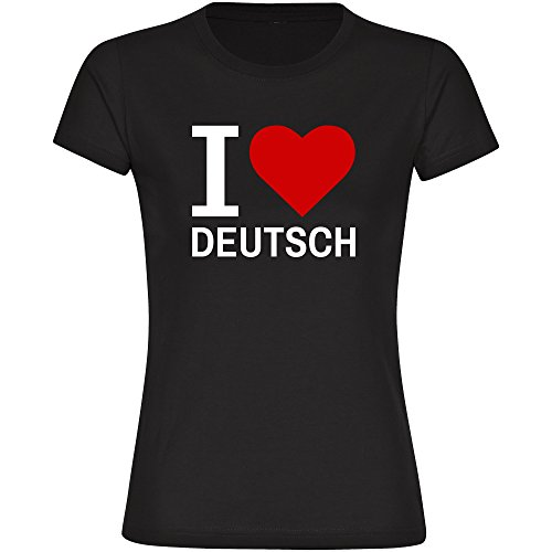 T-Shirt Classic I Love Deutsch schwarz Damen Gr. S bis 2XL