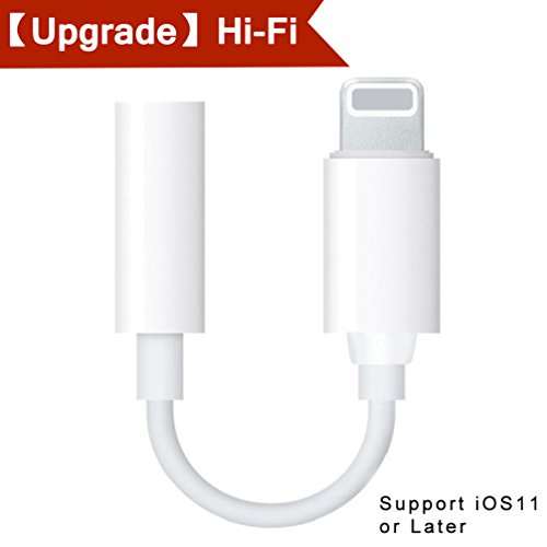 - Lightning Jack Adapter for iPhone 8/8Plus iPhone 7/7Plus iPhone X Headphone Adaptor for iPhone Dongle Lighting to 3.5mm Earphone Aux Audio Accessories Lightning Splitter Support iOS11 or Later-White
