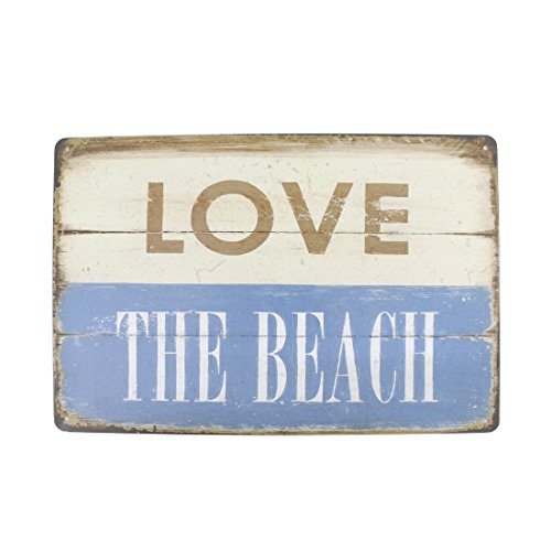 12x8 Inches Pub,bar,home Wall Decor Souvenir Hanging Metal Tin Sign Plate Plaque (LOVE THE BEACH)