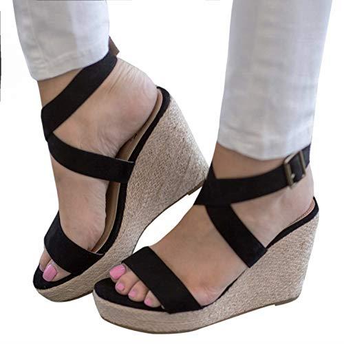 Womens Wedge Platform Espadrille Cross Ankle Strap Slingback Open Toe Summer High Heel Sandals (10, Black)