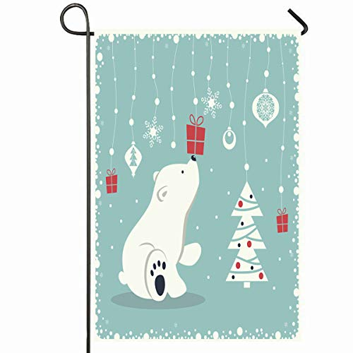 (Ahawoso Outdoor Garden Flag 12x18 Inches Christmas Bear Depicts Seated Little Polar Holidays Cute Happy White Snowflakes Year Design Tree Seasonal Home Decorative House Yard Sign)