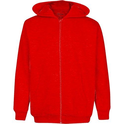 Premium Full Zip Boys Hooded Fleece - Comfortable & Warm Boys Fleece Hoodie (10/12, Red) ()