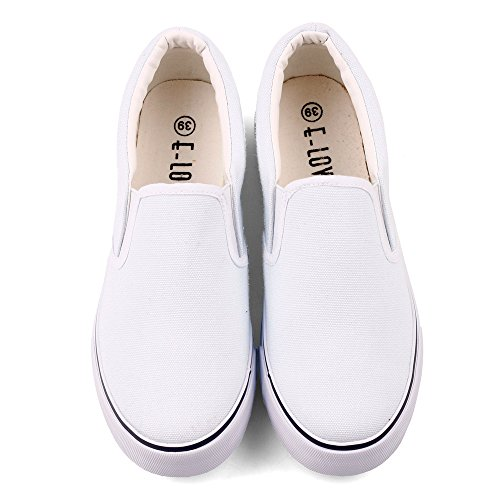 ElovForU White Slip On Low Top Canvas Shoes Casual Loafers Women Flats Sneakers (9 Women / 7.5 Men /CN41, White)