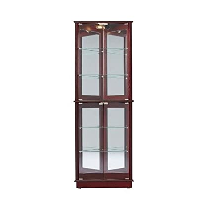 Amazon Corner Curio Cabinet Glass Cherry Wood China Display Dishes Cupboard Living Dining Room Furniture Kitchen