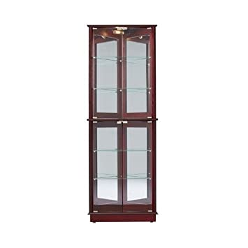 Corner Curio Cabinet Glass Cherry Wood China Display Dishes Cupboard Living  Dining Room Furniture
