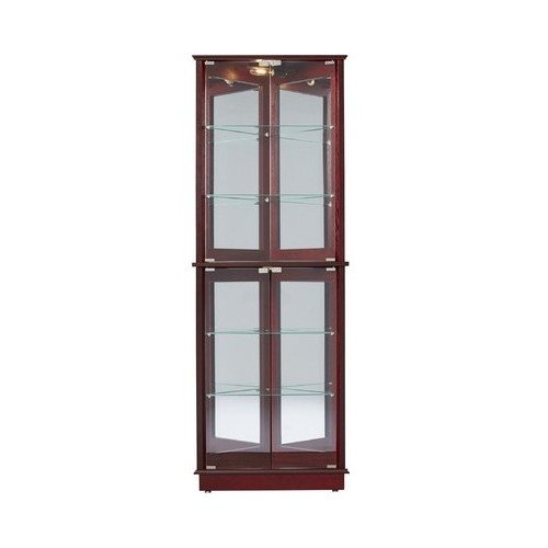 Corner Curio Cabinet Glass Cherry Wood China Display Dishes Cupboard Living Dining Room ()