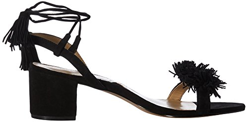 Adrienne Vittadini Womens Alen Leather Open Toe Casual Ankle Strap Sandals Black sBAuDCZzt