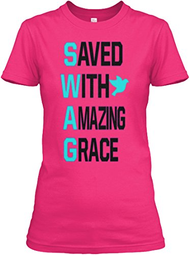 Saved With Amazing Grace Tshirt   M  6 8    Heliconia   Gildan Womens Relaxed Tee