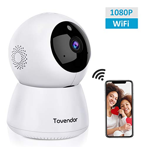 IP Camera WiFi 1080P, Tovendor Baby Monitor, Indoor Home Cloud Cam, 2.4GHz Wireless Surveillance System with Night Vision PTZ Two-Way Audio for Pet Elder Nanny