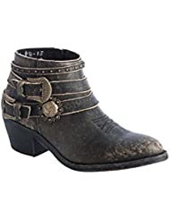 Corral Urban Womens Multi Buckle Straps Distressed Black Leather Ankle Cowboy Boots