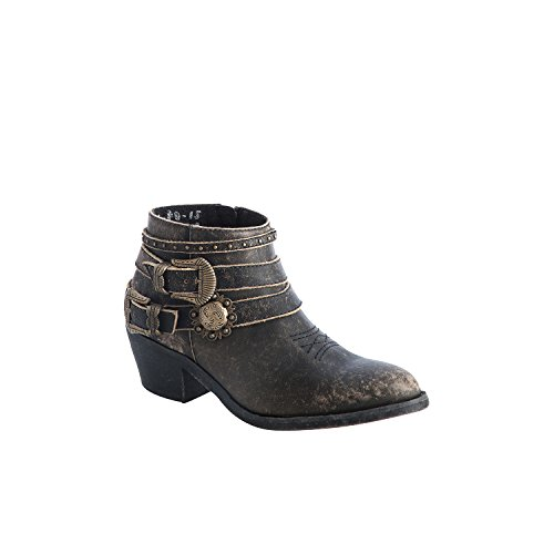 Corral Urban Women's Multi Buckle Straps Distressed Black Leather Ankle Cowboy - Womens Multi Buckle
