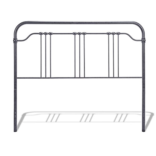 Full Spindle (Wellesly Metal Headboard with Straight Top Rail and Rounded Corners, Marbled Navy Finish, Full)