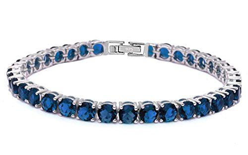 14.5CT Round Simulated Blue Sapphire .925 Sterling Silver Bracelet (Blue Diamond Bracelet Sapphire)