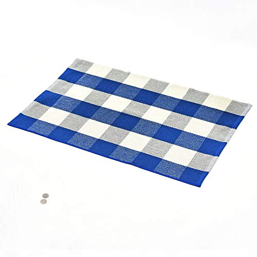 (belashop Blue and White Plaid Rug 100% Cotton Porch Rugs Black/White Hand-Woven Checkered Door Mat,17.7''x27.5'')