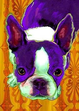 "Matted Boston Terrier /""Rules/"" Dog Art Print"