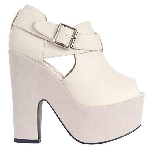 Saute Styles - Sandalias de vestir para mujer Beige